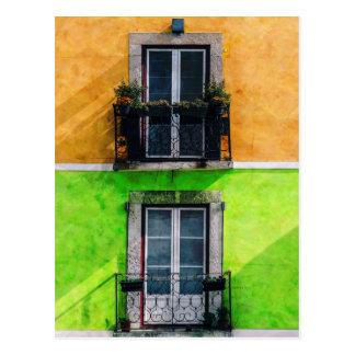 Vintage Apartment Balconies Postcard