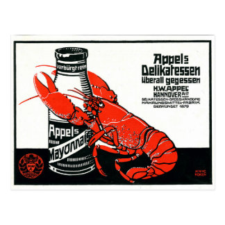 Vintage Appel Mayonnaise Advertisement Lobster Postcard