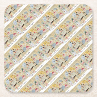 Vintage Aprons Mother & Daughter Party Square Paper Coaster