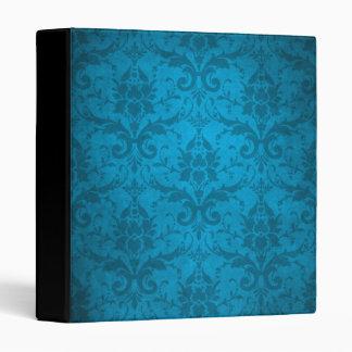 Vintage Aqua Blue Damask Wallpaper Vinyl Binder
