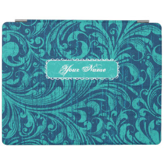 Vintage Aqua/Blue Floral Swirls Personalized iPad Cover