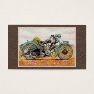 Vintage Aqua Blue Motorcycle Print Business Card