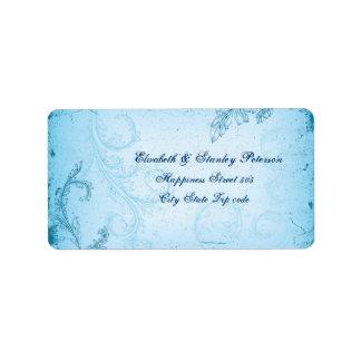 Vintage aqua blue scroll leaf wedding label