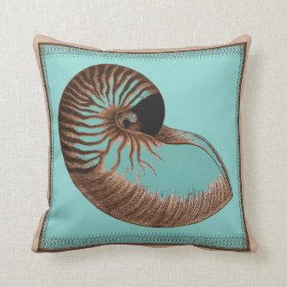 Vintage Aqua Chambered Nautilus Shell Pillow