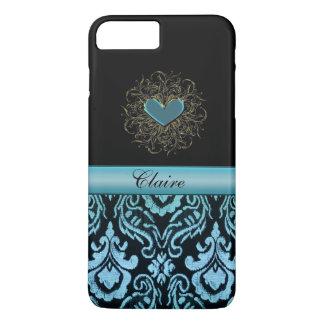 Vintage Aqua Damask Heart Personalized iPhone Case