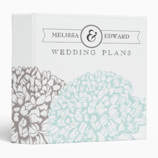 Vintage Aqua Flowers Wedding Planner Binder