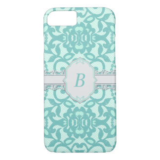 Vintage Aqua & Grey Monogram iPhone 7 Case