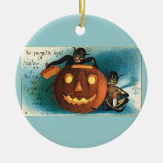 Vintage Aqua Halloween Ceramic Ornament