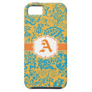 Vintage Aqua Orange Damask Personalize iPhone 5 iPhone 5 Cover