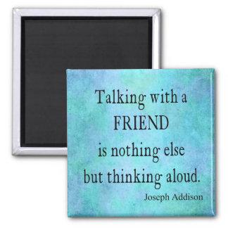 Vintage Aqua Teal Blue Addison Friendship Quote Square Magnet