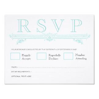 "Vintage Aqua Turquoise Wedding RSVP Cards 4.25"" X 5.5"" Invitation Card"