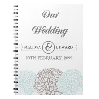 Vintage Aqua Zinnia Wedding Spiral Note Book