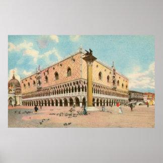 Vintage aquarelle Venice Doge's Palace Poster