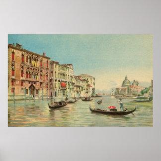 Vintage aquarelle Venice Grand Canal Poster