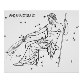 Vintage Aquarius in White Poster