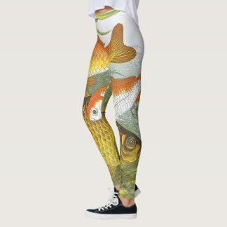 Vintage Aquatic Goldfish Koi Fish, Marine Sea Life Leggings