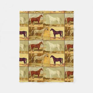 Vintage  Arabian horses - collage Fleece Blanket
