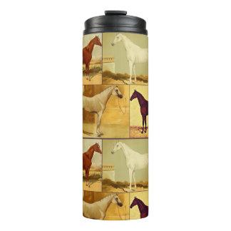 Vintage  Arabian horses - collage Thermal Tumbler