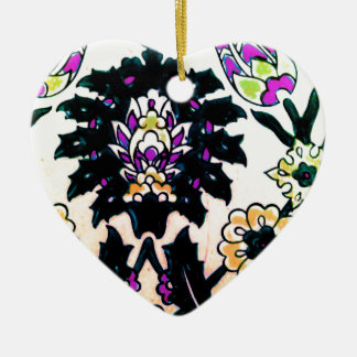 Vintage ARABIC tile Iznik, Turkey, 16th century Ceramic Heart Ornament
