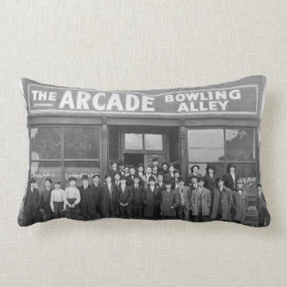 Vintage Arcade Bowling Alley and Patrons Lumbar Pillow
