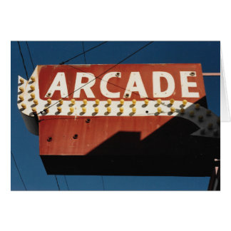 Vintage Arcade Sign Photograph Blank Greeting Card