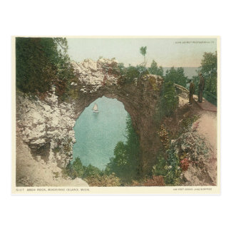 Vintage Arch Rock Mackinac Island Michigan Postcard