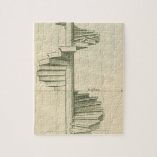 Vintage Architectural Stairs, Spiral Staircase Jigsaw Puzzle