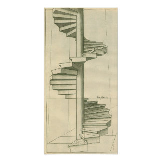 Vintage Architectural Stairs, Spiral Staircase Perfect Poster