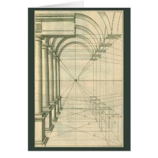 Vintage Architecture, Arches Columns Perspective Card