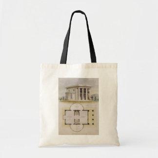 Vintage Architecture, Floor Plan and Greek Villa Budget Tote Bag