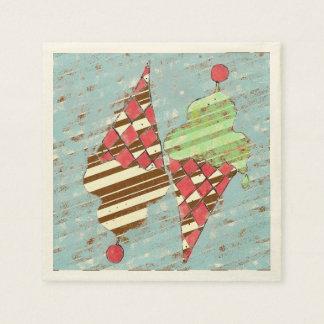 Vintage Argyle Pattern Ice Cream Cones Paper Napkin