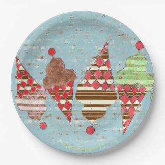 Vintage Argyle Pattern Ice Cream Stripe Cones Paper Plate