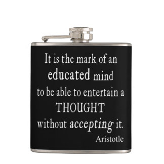 Vintage Aristotle Educated Mind Thought Quote Hip Flask