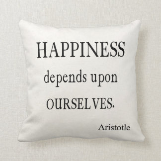 Vintage Aristotle Happiness Inspirational Quote Throw Pillow