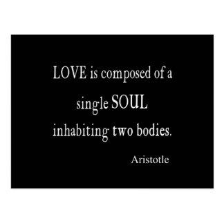 Vintage Aristotle Love Single Soul Black Quote Postcard
