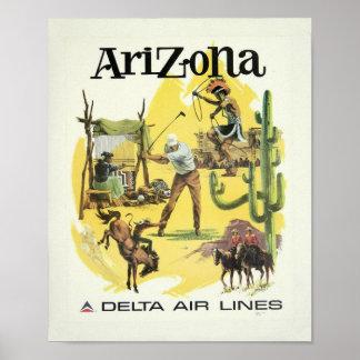 Vintage Arizona Airplane Travel Poster