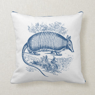 Vintage Armadillo Antique Woodblock Blue Throw Pillow