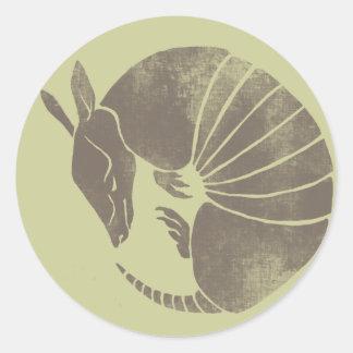 Vintage Armadillo Round Sticker