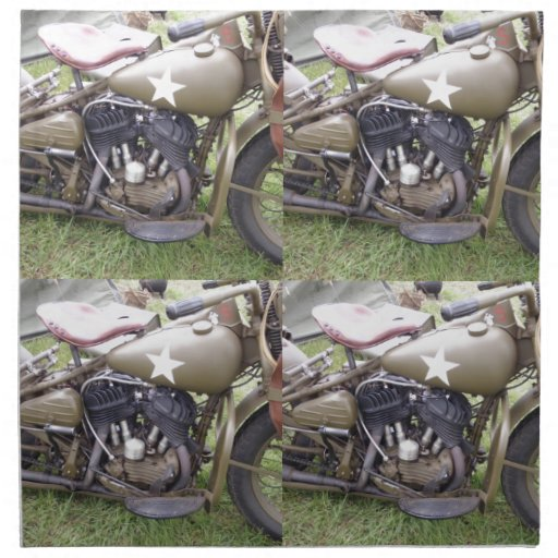 Vintage Army Motorcycle Printed Napkin