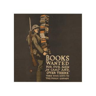 Vintage Army Poster Book Soldier Wood Wall Art Wood Print
