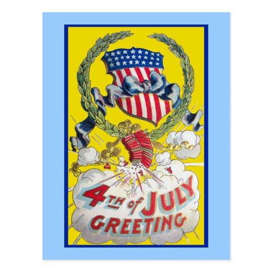 Vintage Art - 4th of July Greeting Postcard