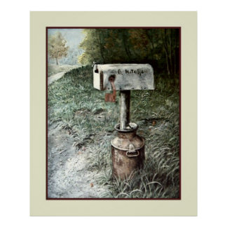 Vintage Art, B. Mitchell Country Mailbox Poster