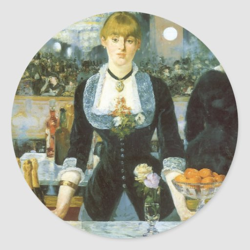 Vintage Art, Bar at the Folies Bergere by Manet Round Sticker