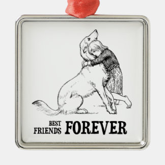 Vintage Art: Best Friends Forever Girl hugging Dog Metal Ornament
