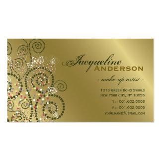 Vintage Art Boho Green Spirals Golden Profile Card Business Card Templates
