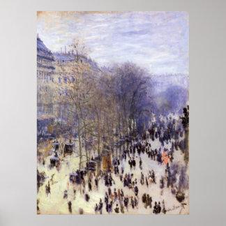 Vintage Art, Boulevard des Capucines by Monet Poster