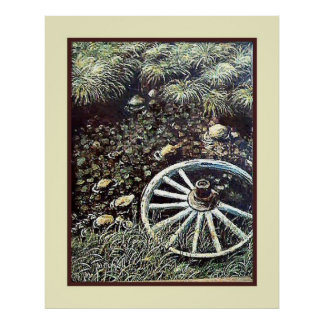 Vintage Art by B. Mitchell, Wagon Wheel Poster