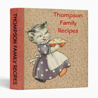 Vintage Art Cat w/Pie Baking & Cooking Recipe Book 3 Ring Binders