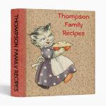 Vintage Art Cat w/Pie Baking & Cooking Recipe Book Vinyl Binder