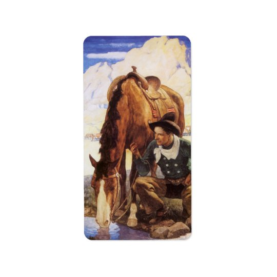 Vintage Art, Cowboy Watering His Horse by NC Wyeth